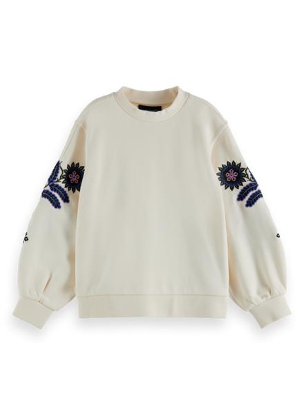 Scotch & Soda Voluminous-sleeved embroidered  sweatshirt