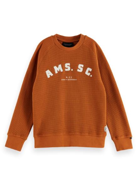 Scotch & Soda Embroidered-artwork waffle sweatshirt in Organic Cotton