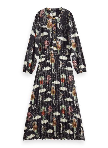 Scotch & Soda All-over printed maxi- length pleated dress
