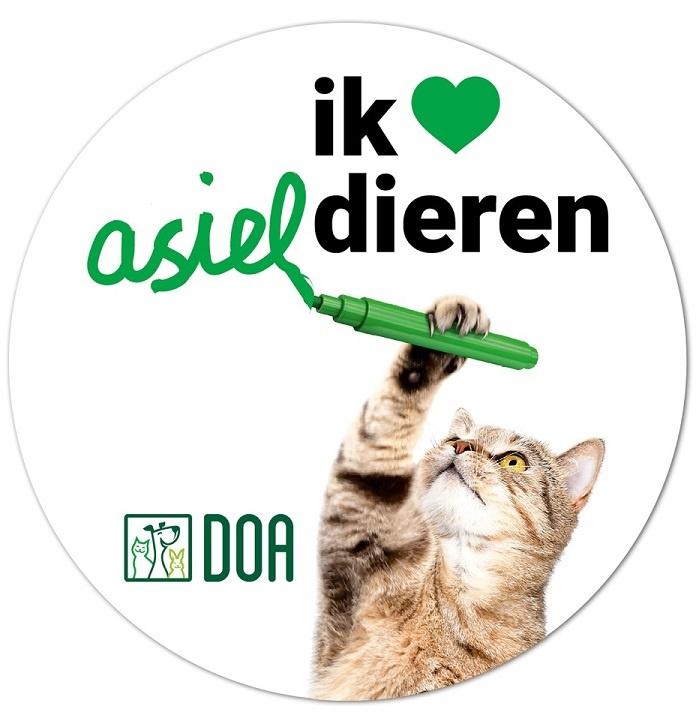 Dierenopvang Amsterdam Setje 'Ik ❤️ asieldieren' stickers (afbeelding hond en afbeelding kat)