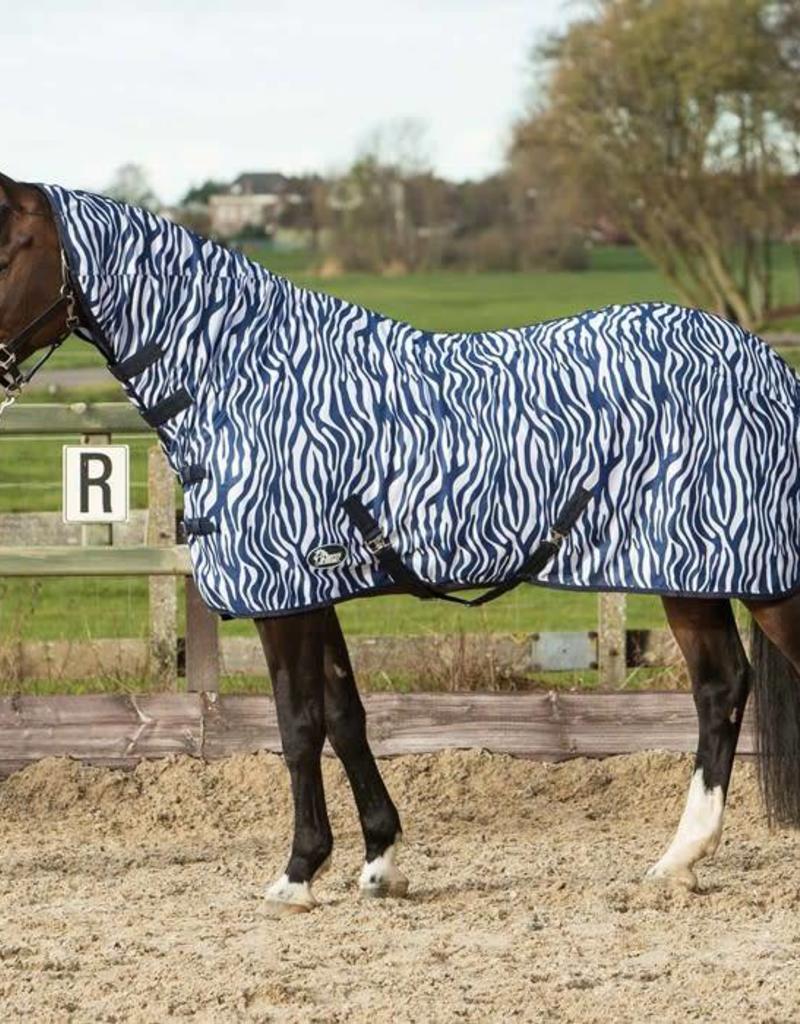 Harry Horse Flysheet mesh with neck and surcingles, zebra medival blue