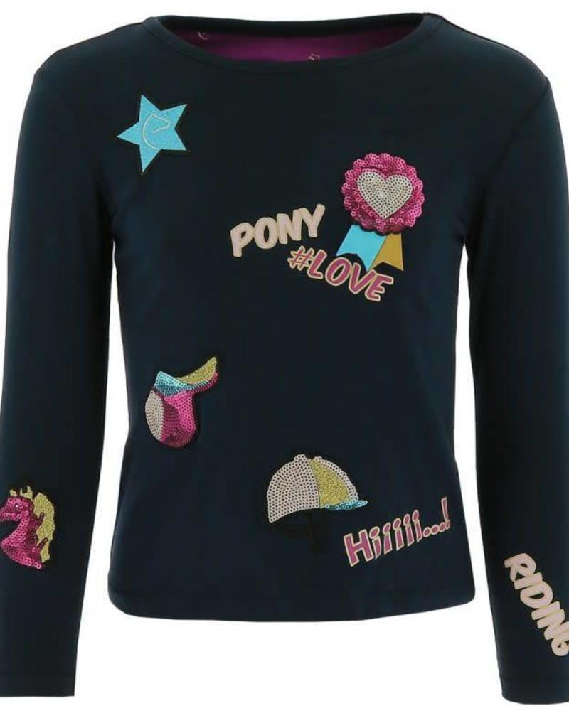 Equi-Theme Shirt Horse Love Badge Navy
