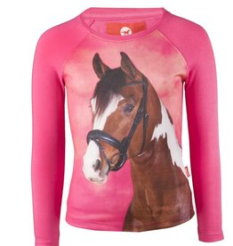 Red Horse Pixel Long Sleeved T Shirt