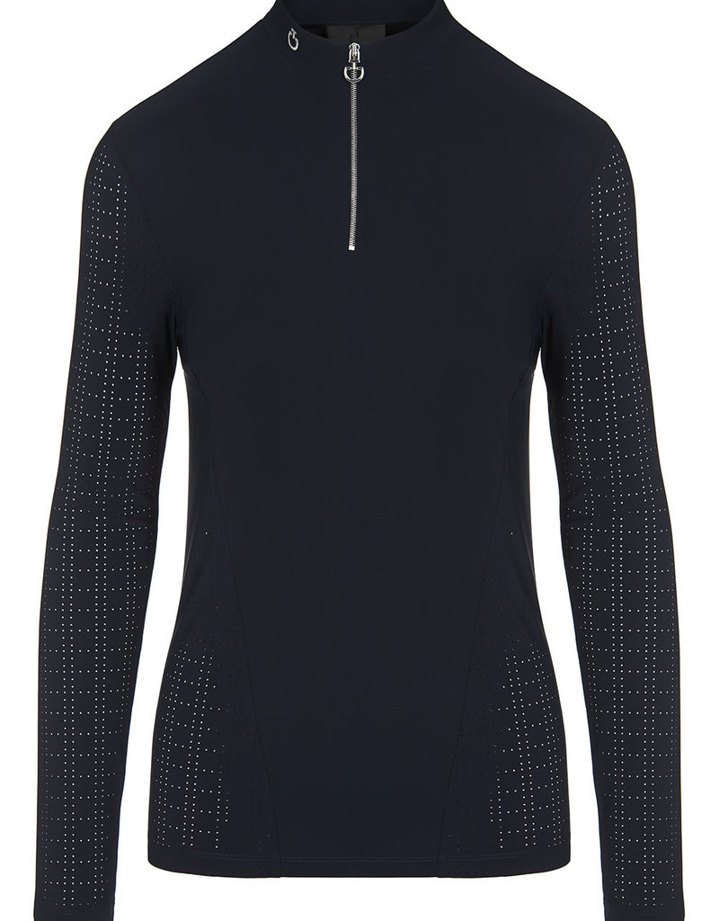 Cavalleria Toscana Perforated Jersey Zip L/S Training Polo (7979)