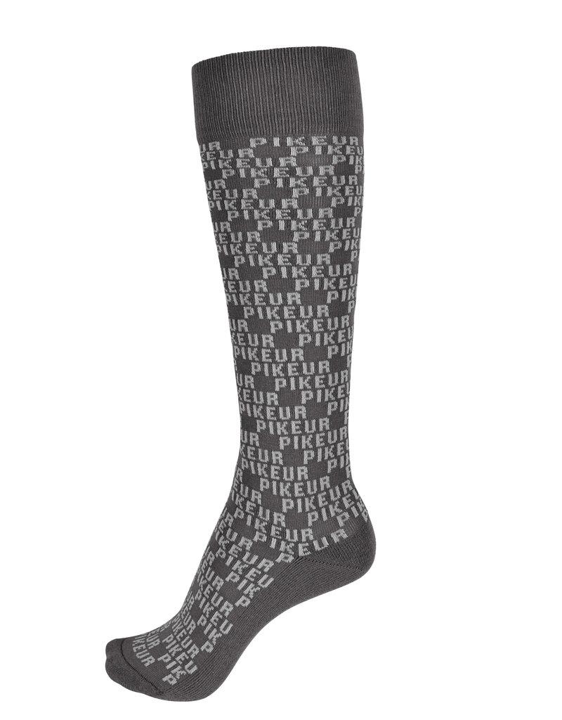 Pikeur Socks Logo All-over Asphalt / Light gray