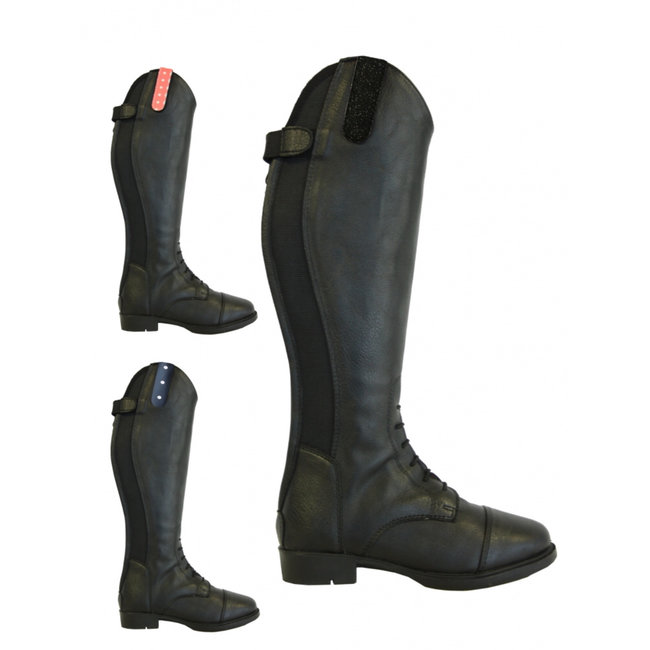 Riding boots Tumba leather look with lace Black