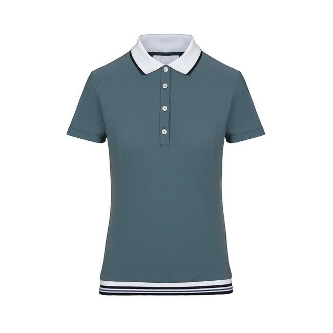 Cavalleria Toscana Poloshirt rib knit banded training s/s Blue (5900) size L