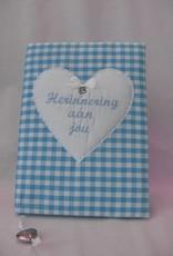 Herinneringsboek blauw ruit