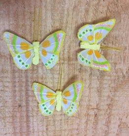 Vlindertjes - Geel per 3 stuks