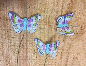 Vlindertjes - Blauw per 3 stuks