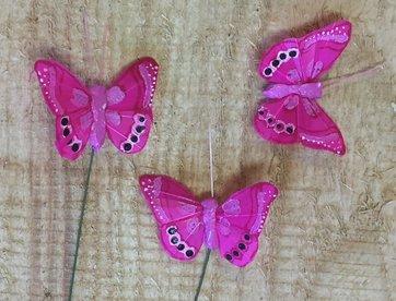 Vlindertjes - Fuchsia per 3 stuks