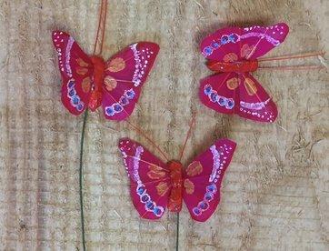 Vlindertjes - Rood per 3 stuks