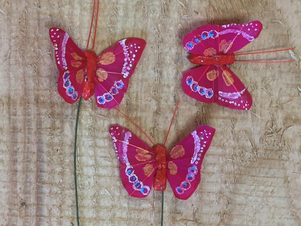 Vlindertjes - Rood per 3