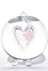 Glazen Urn Roze Vlinder