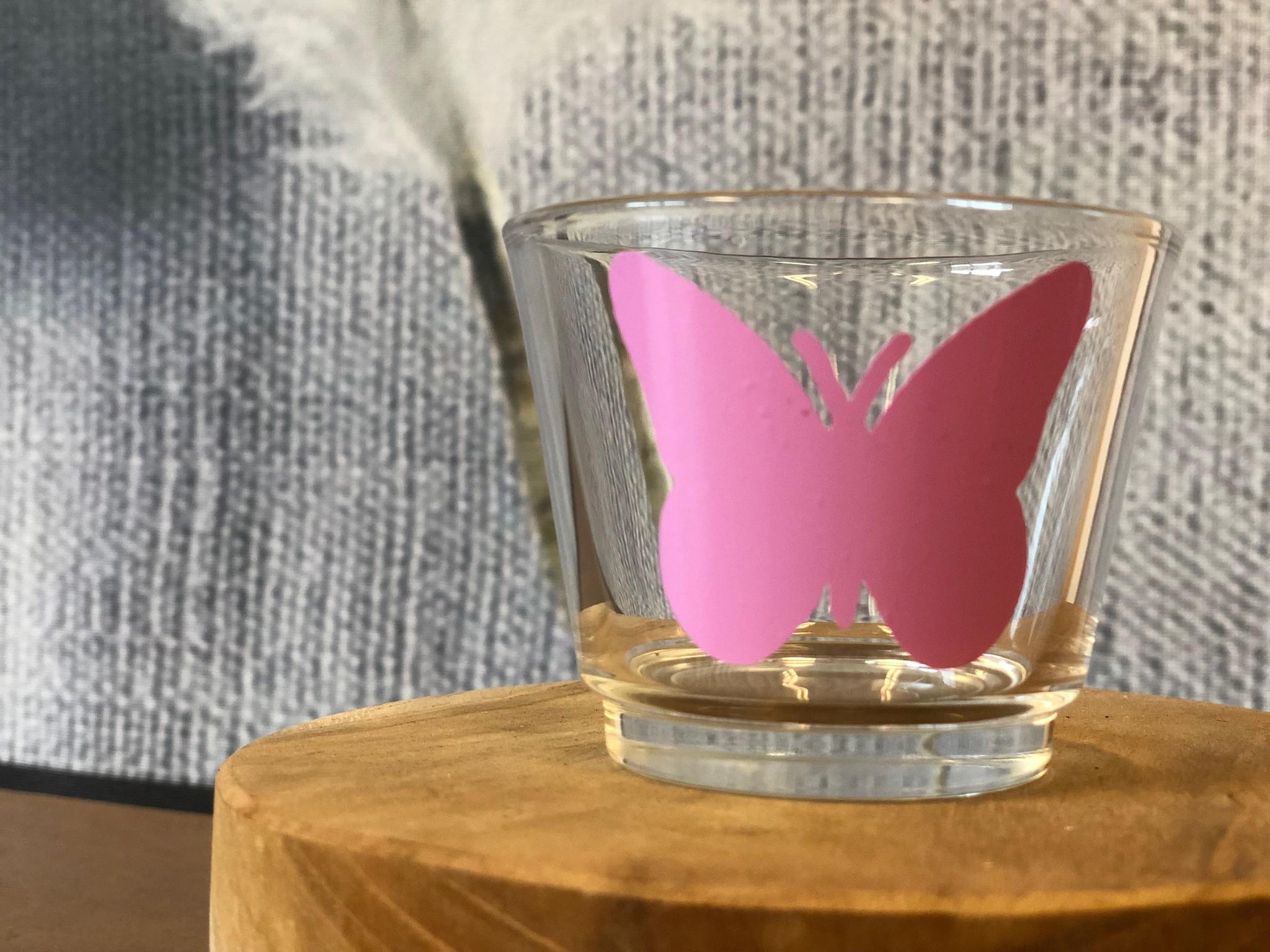 Waxinelichthouder - Vlinder Roze