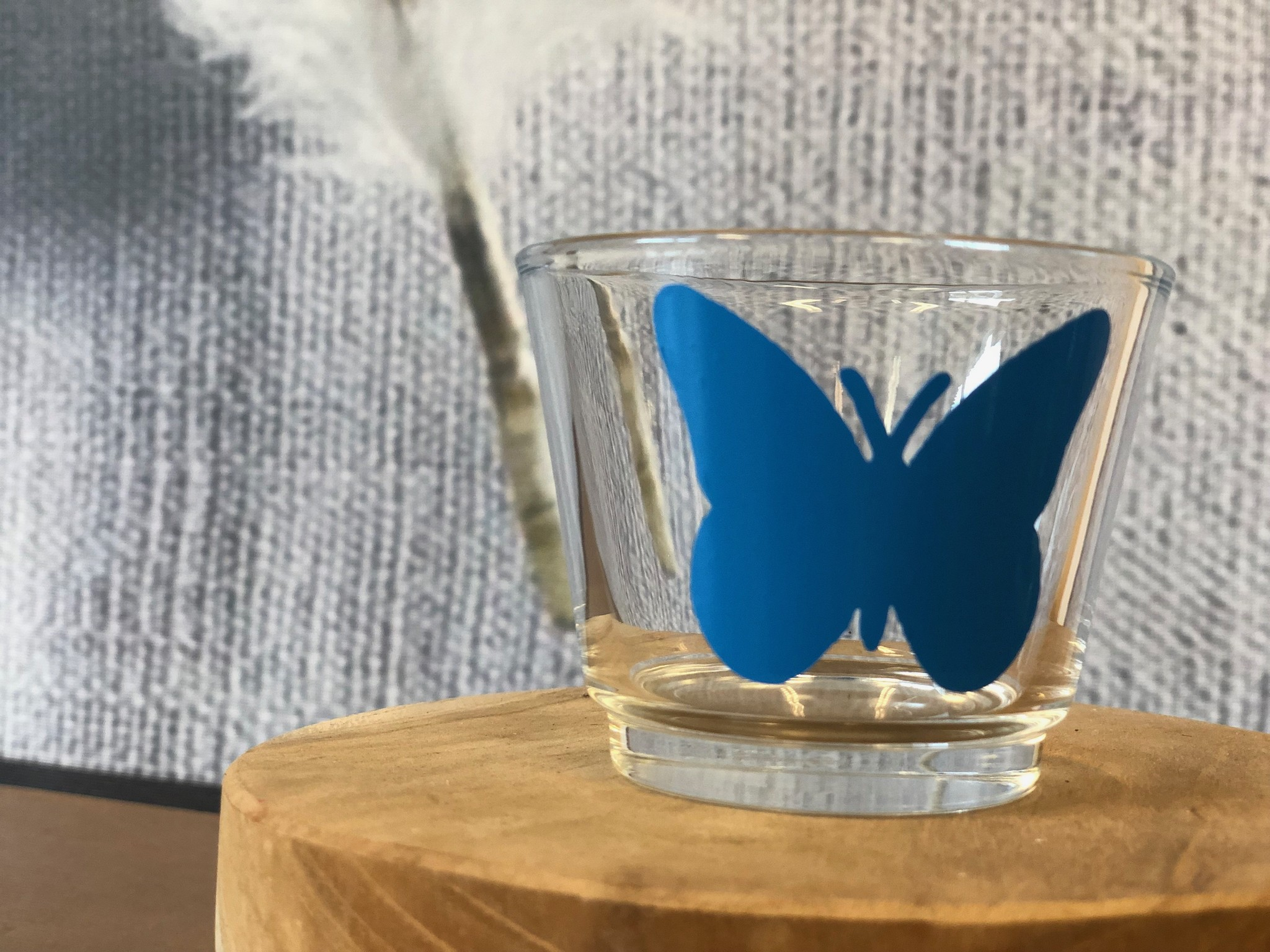Waxinelichthouder - Vlinder Blauw