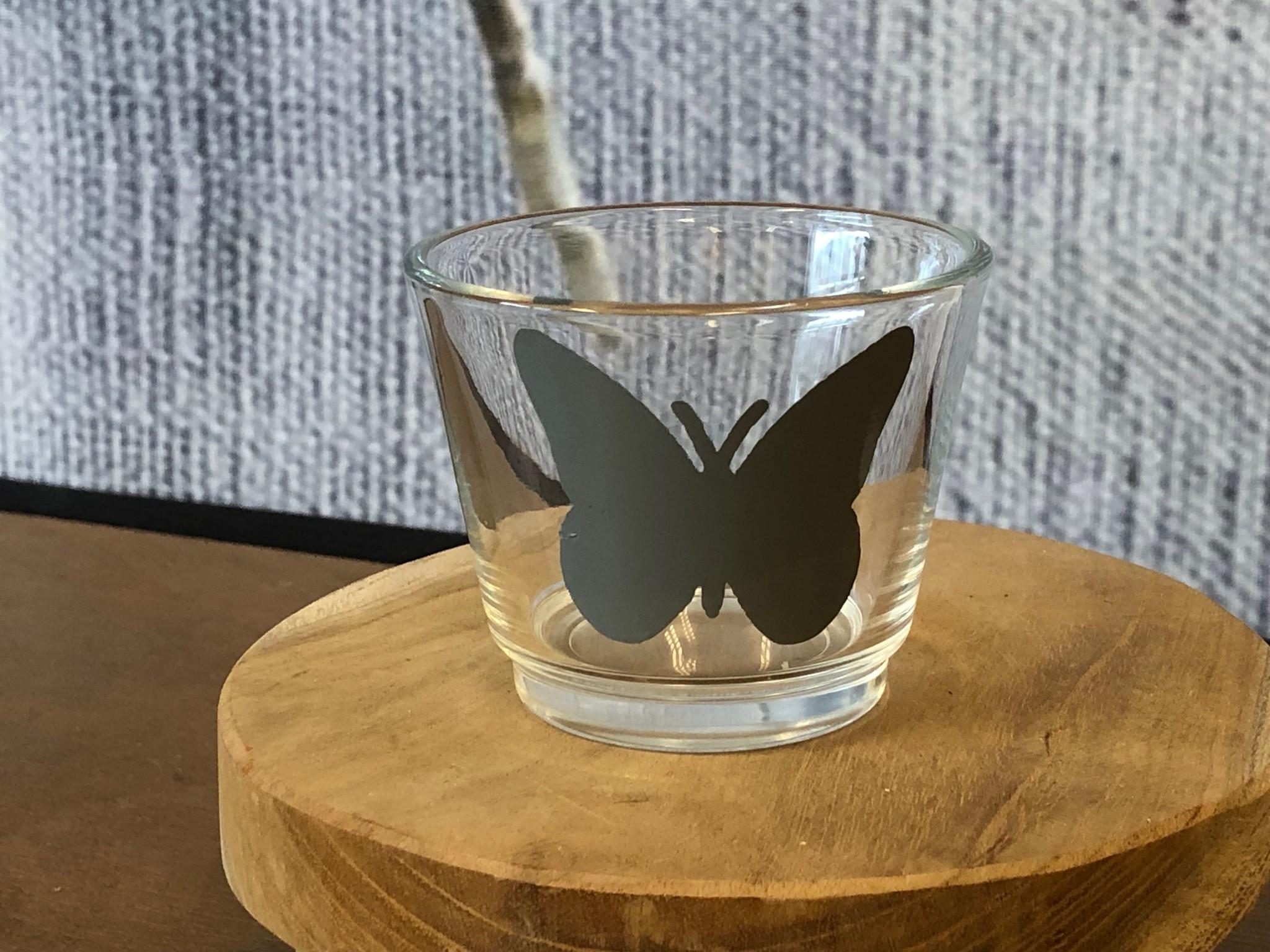 Waxinelichthouder - Vlinder Grijs