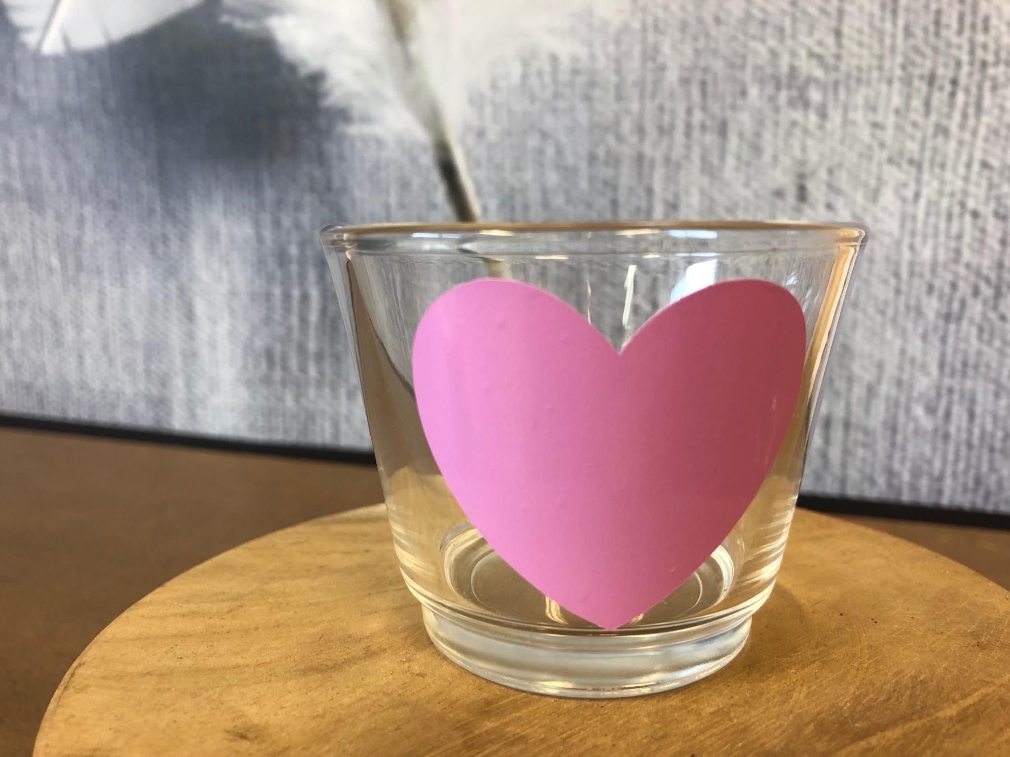 Waxinelichthouder - Hart - Roze