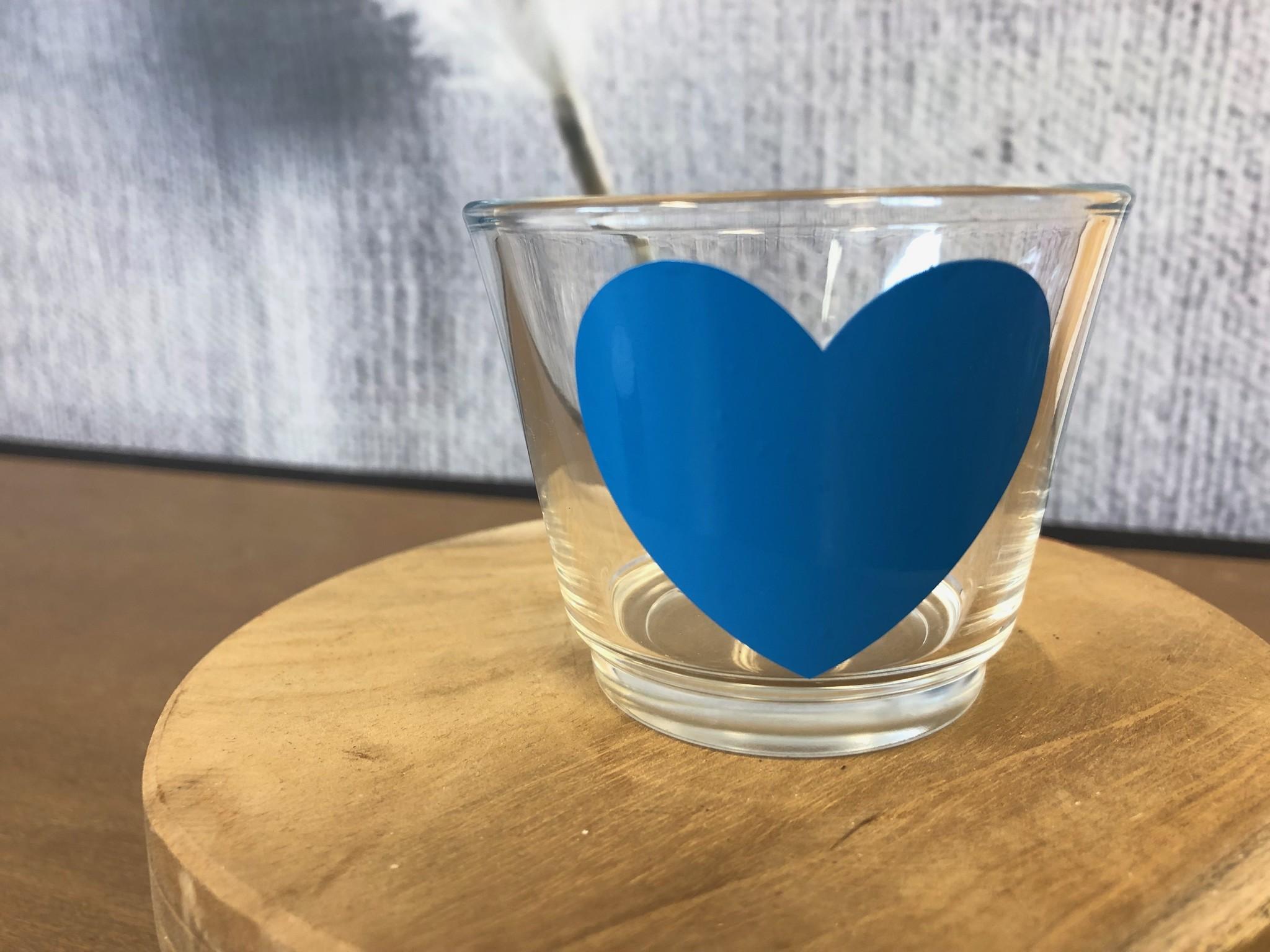 Waxinelichthouder - Hart - Blauw