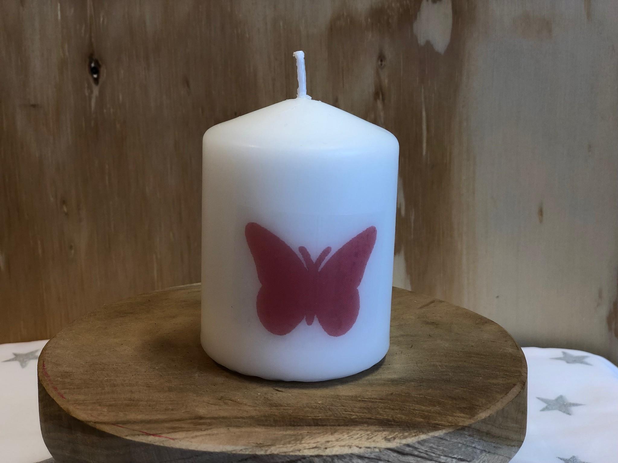 Kaarsje Vlinder Roze wm