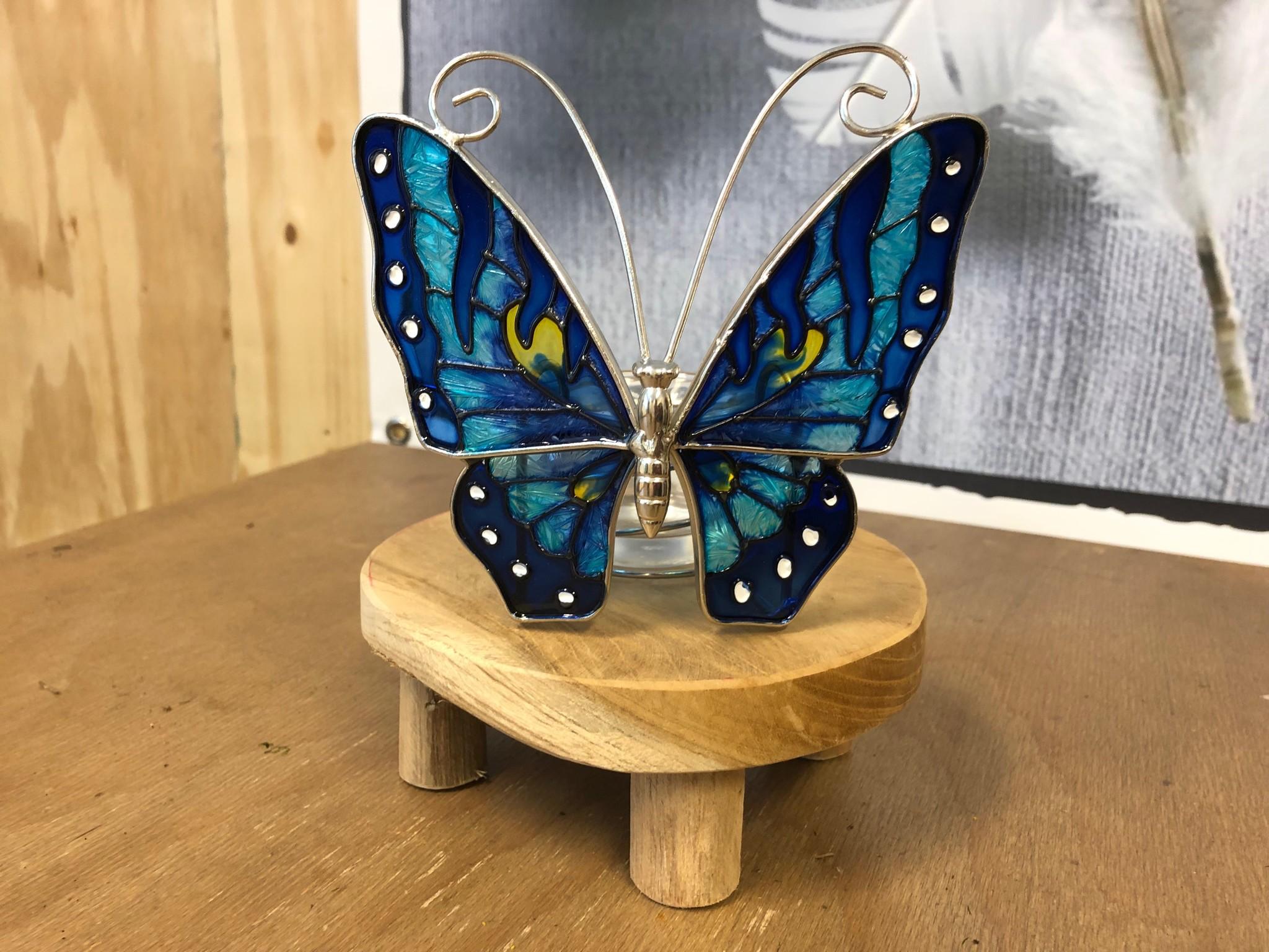 Glas in lood waxinelichthouder - Vlinder Blauw