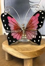 Glas in lood waxinelichthouder - Vlinder Roze