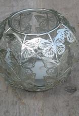 Waxinelichthouder met  zilverkleurige vlindertjes
