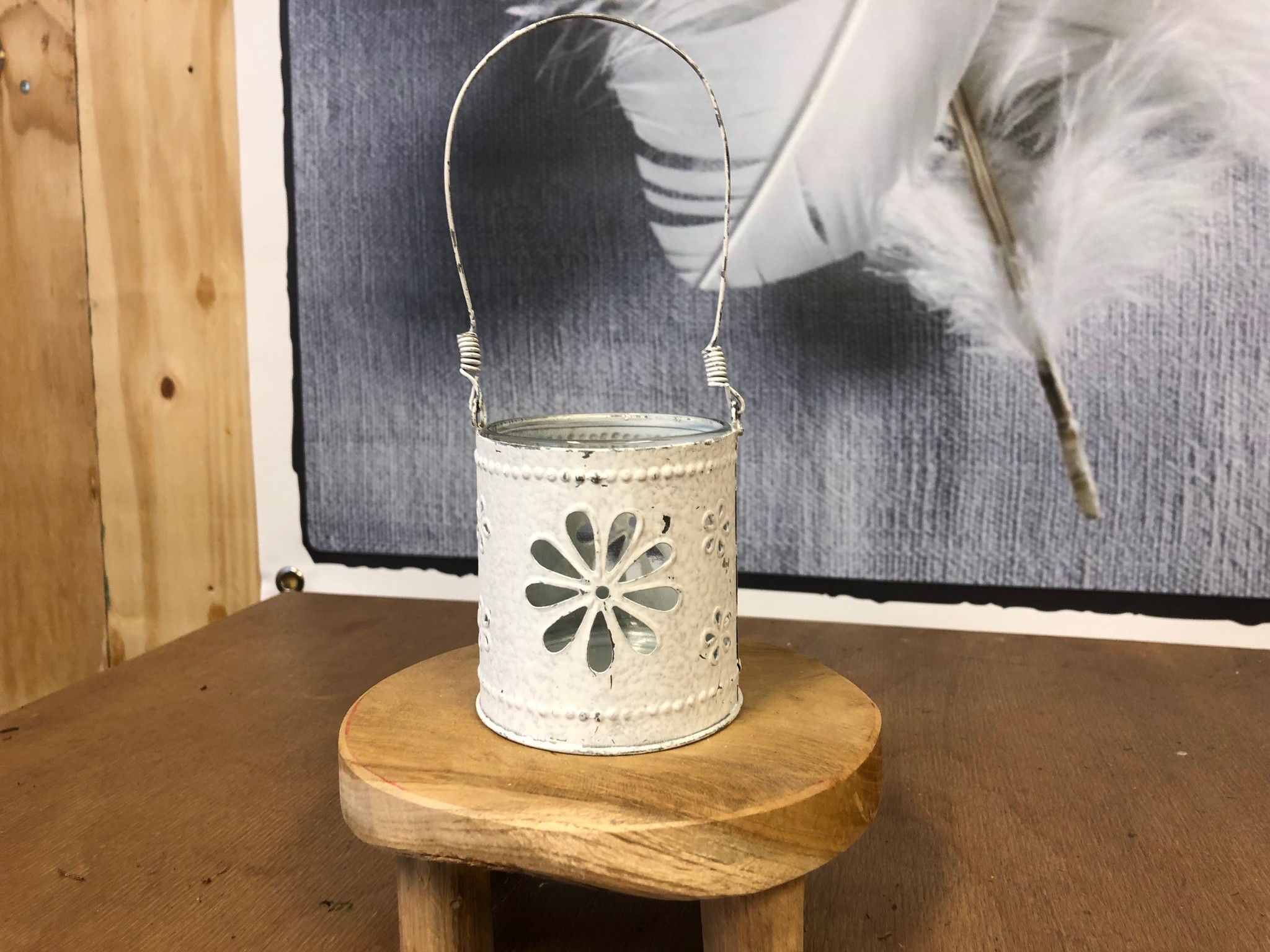Waxinelichthouder - Bloem Wit