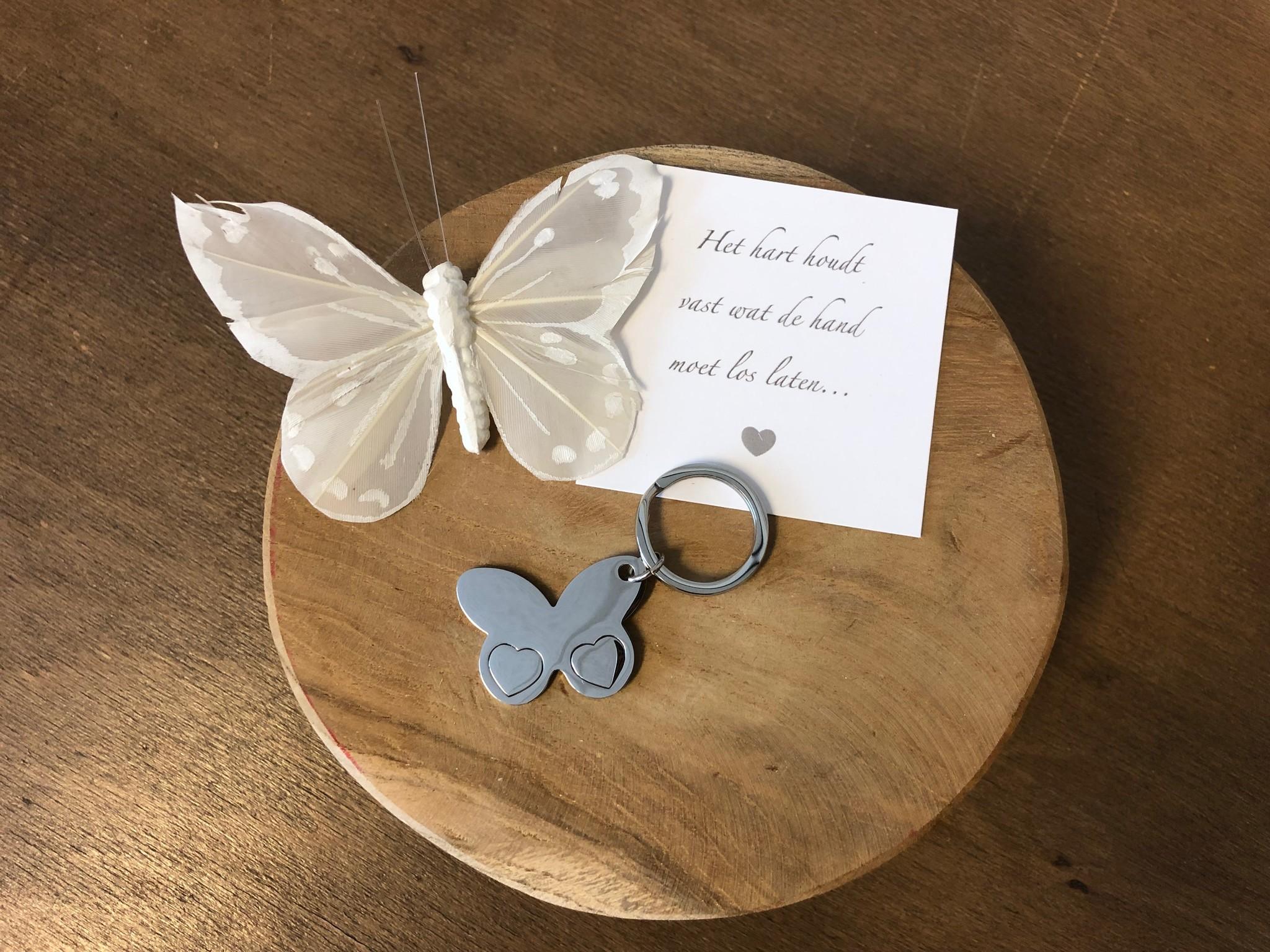 Sleutelhanger -  Vlinder 2 hartjes