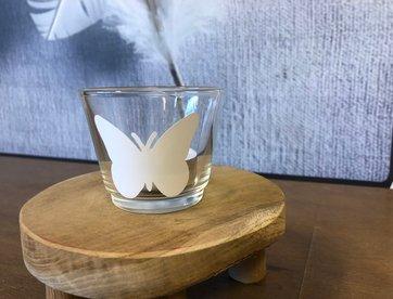 Waxinelichthouder - Vlinder Wit