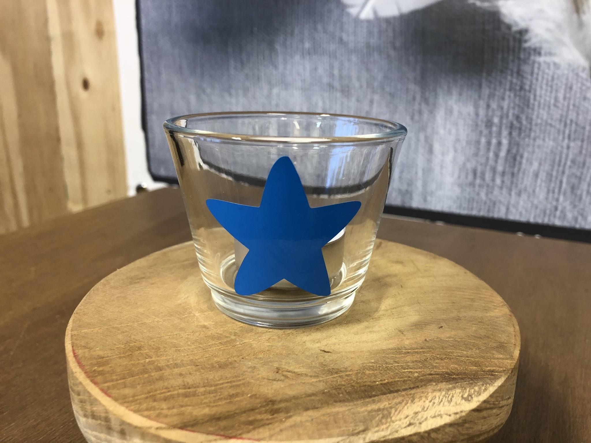 Waxinelichthouder - Ster Blauw