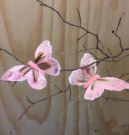 Vlindertjes - Roze 13  cm
