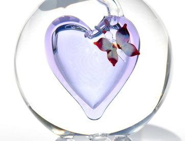 Urn glas met gekleurde vlinder