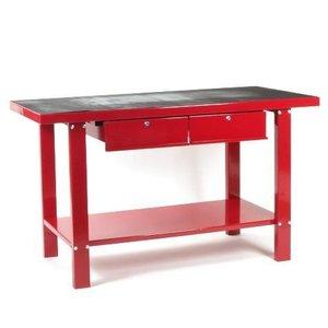Werkbank met 2 laden rood metaal