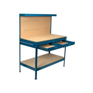 Werkbank met 2 laden blauw metaal