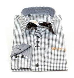 Villa Style Hoog boord overhemd wit/zwart ruitje