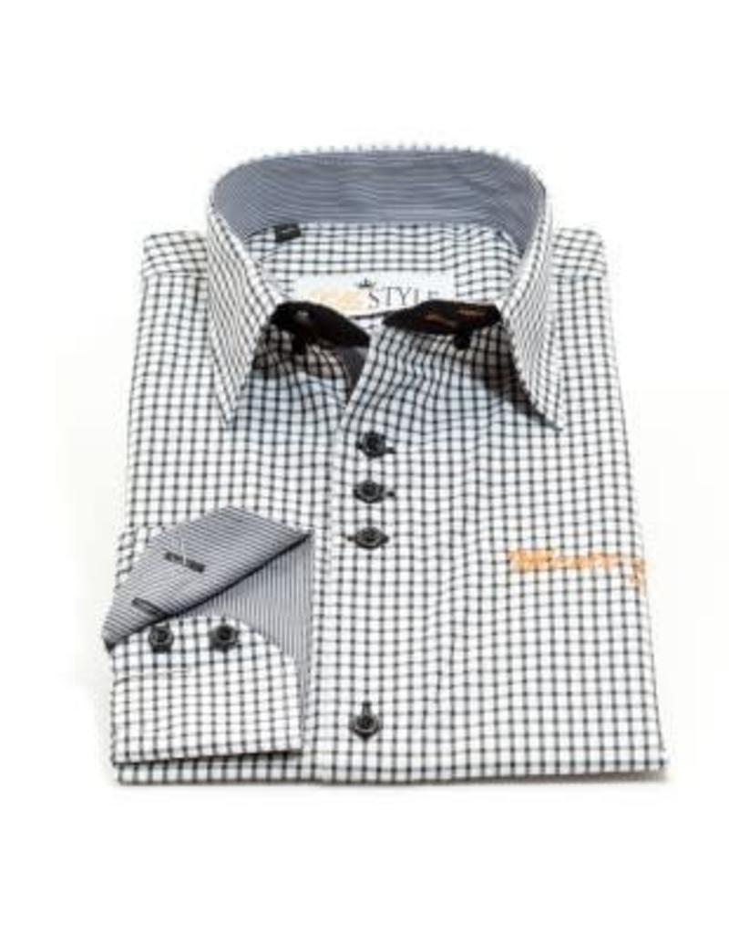 Overhemd Zwart Wit.Villa Style Villa Style Hoog Boord Overhemd Wit Zwart Ruitje Villa