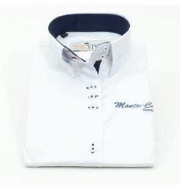 Villa Style Villa Style hoog boord blouse wit/d.blauw