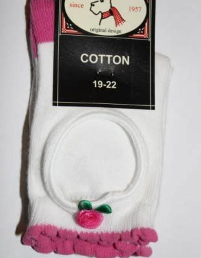 Bonnie Doon Bonnie Doon Sokje wit h.roze open met roosje