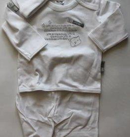 Dirkje Dirkje babypakje wit met grijze tekst