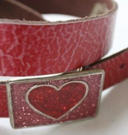 Oxxy Oxxy riem h.roze/rood met hart gesp