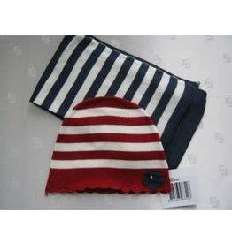 Dirkje Dirkje muts rood/wit sjaal d.blauw/wit