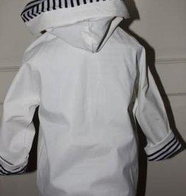 Moussailon Jas wit met d.blauw bretonse strepen