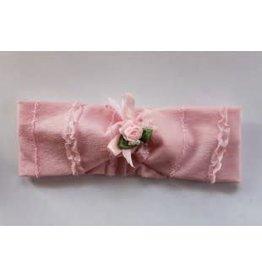 Haarband roze met roze roosje