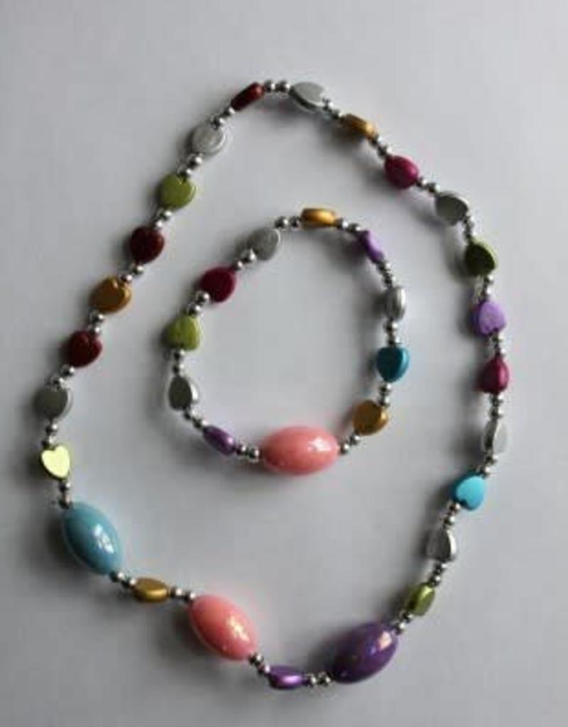 kinder setje ketting en armband met gekleurde steentjes