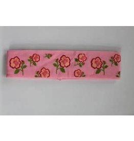 Haarband roze met bloemen