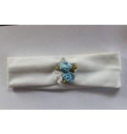 Haarband wit met l.blauw roosje