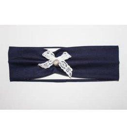 Haarband d.blauw met wit strikje en nostalgisch knoopje
