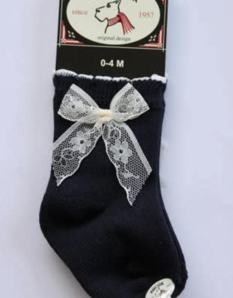 Bonnie Doon Bonnie Doon Sokje d.blauw met kanten strikje