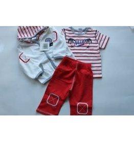 Dirkje Dirkje 3 delig jasje/broek/shirtje rood/wit